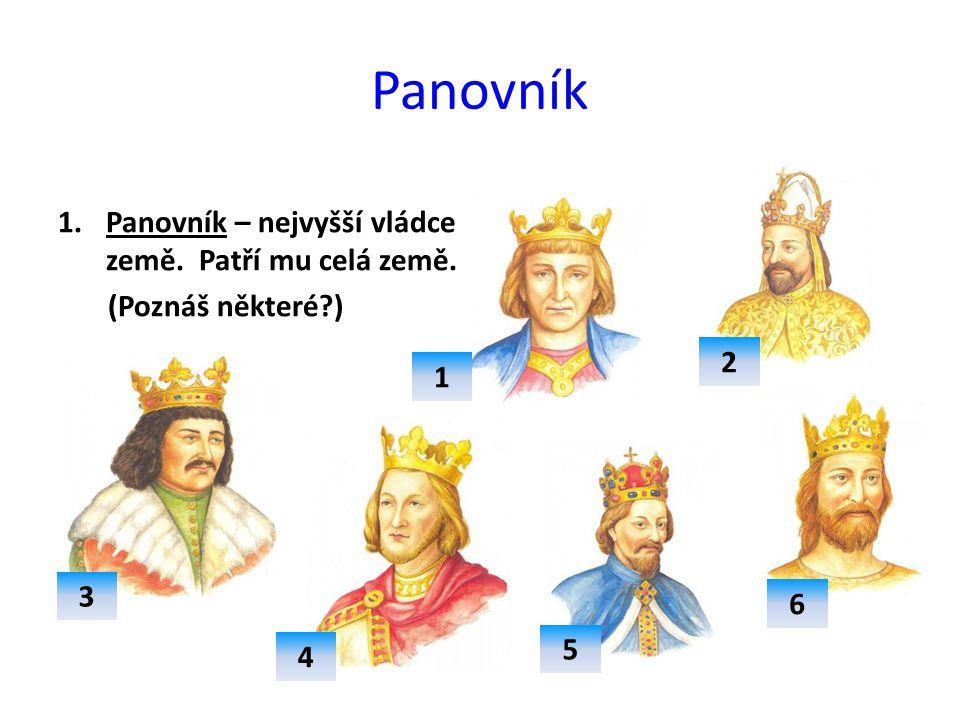 Panovník 1.Panovník – nejvyšší vládce země. Patří mu celá země. (Poznáš některé?) 1 2 3 4 5 6
