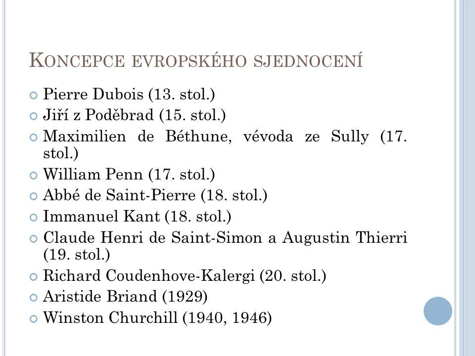 K ONCEPCE EVROPSKÉHO SJEDNOCENÍ Pierre Dubois (13. stol.) Jiří z Poděbrad (15. stol.) Maximilien de Béthune, vévoda ze Sully (17. stol.) William Penn