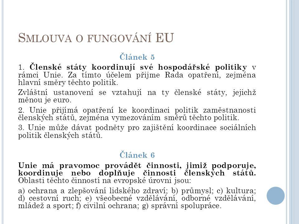 S MLOUVA O FUNGOVÁNÍ EU Článek 5 1. Členské státy koordinují své hospodářské politiky v rámci Unie. Za tímto účelem přijme Rada opatření, zejména hlav