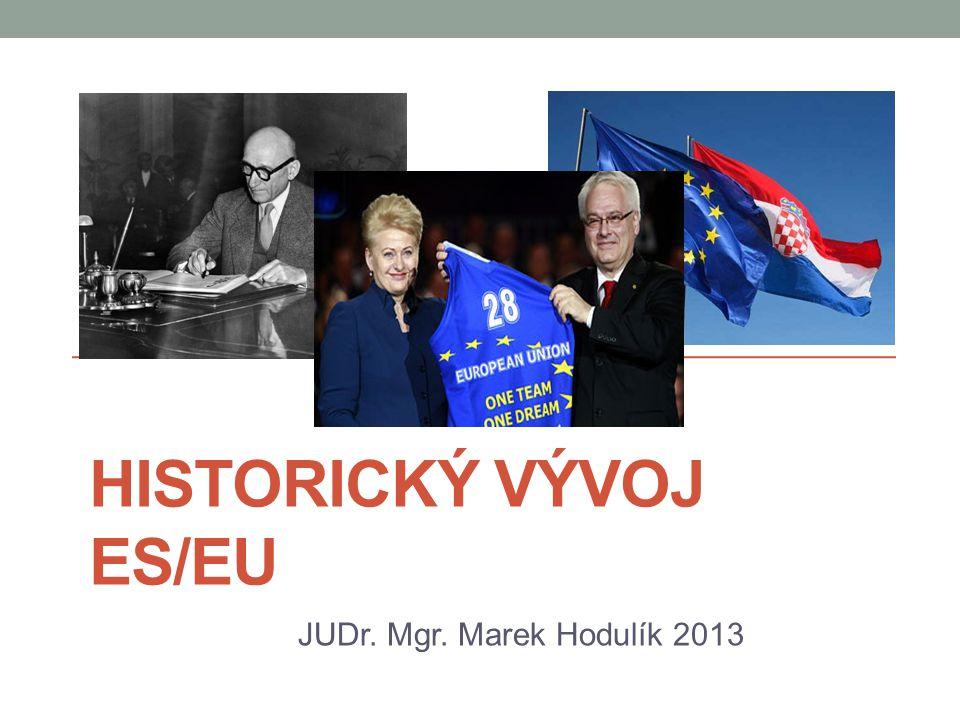 Obsah přednášky Počátky evropské integrace Vývoj léta padesátá Schumannova deklarace, ESUO, EHS Vývoj léta šedesátá - devadesátá Slučovací smlouva, celní unie, přímé volby do EP, JEA, EU a čtyři svobody, občanství EU