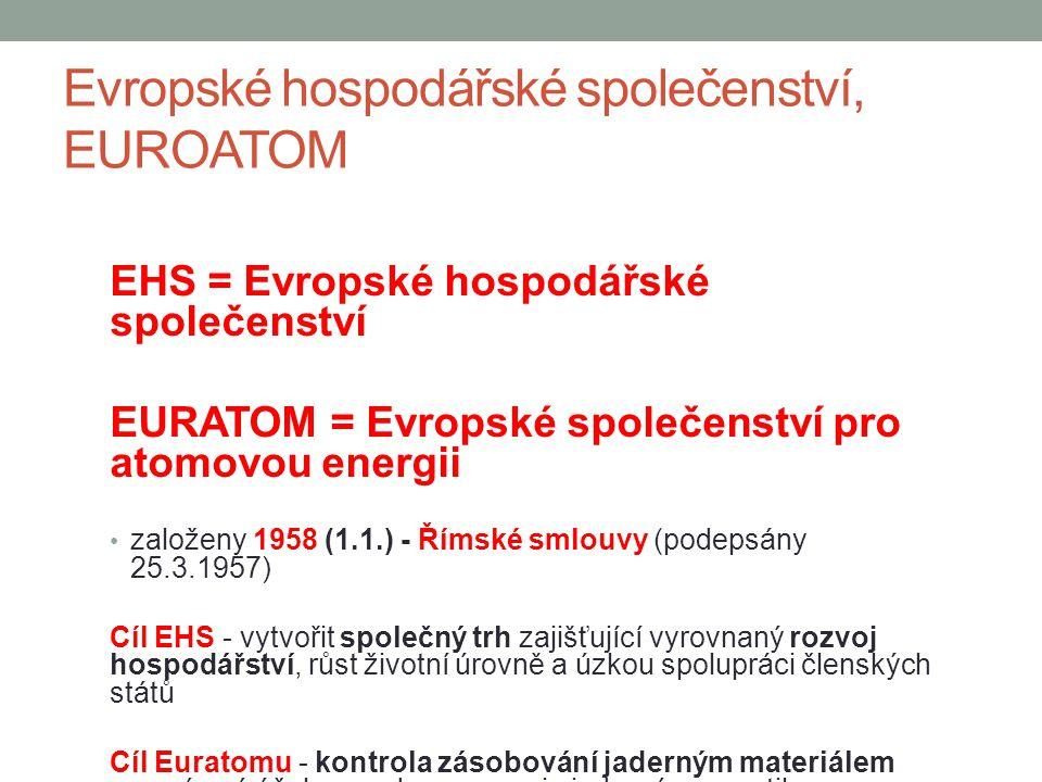 Evropské hospodářské společenství, EUROATOM EHS = Evropské hospodářské společenství EURATOM = Evropské společenství pro atomovou energii založeny 1958