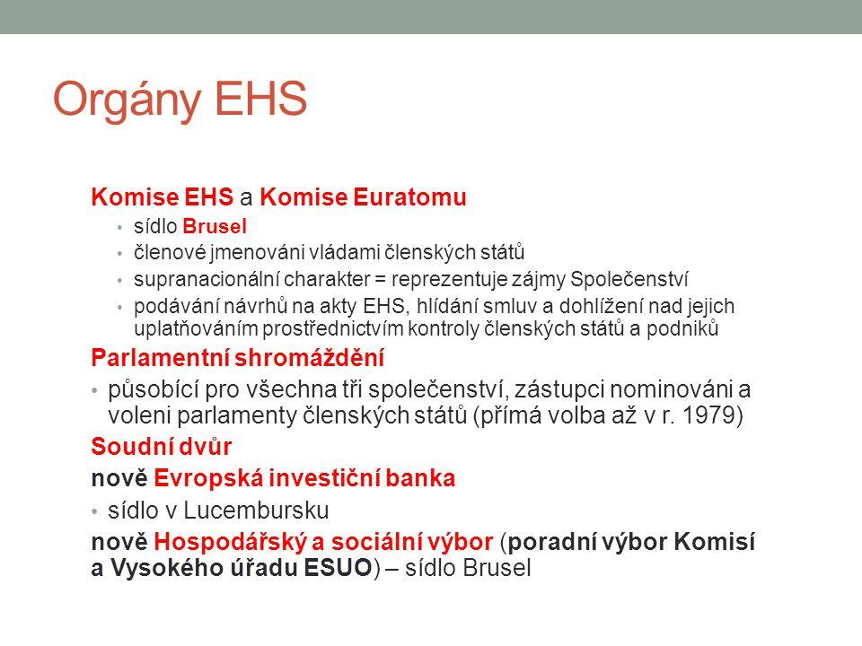 Orgány EHS Komise EHS a Komise Euratomu sídlo Brusel členové jmenováni vládami členských států supranacionální charakter = reprezentuje zájmy Společen