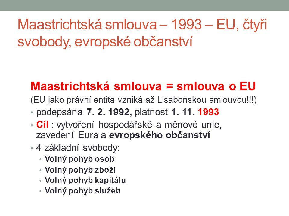 Maastrichtská smlouva – 1993 – EU, čtyři svobody, evropské občanství Maastrichtská smlouva = smlouva o EU (EU jako právní entita vzniká až Lisabonskou
