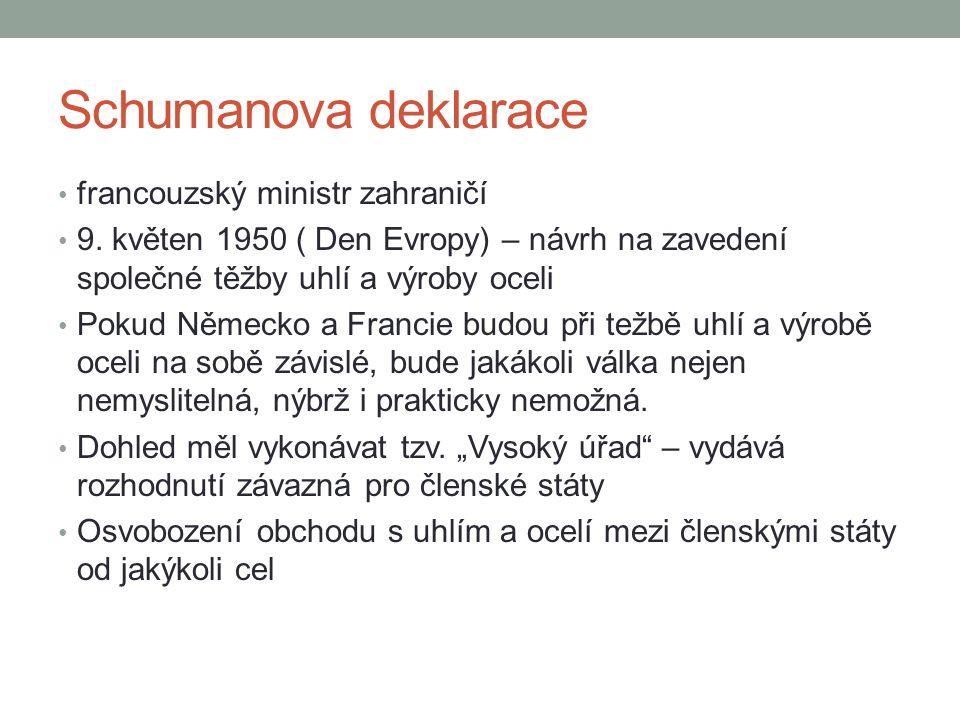 Schumanova deklarace francouzský ministr zahraničí 9. květen 1950 ( Den Evropy) – návrh na zavedení společné těžby uhlí a výroby oceli Pokud Německo a