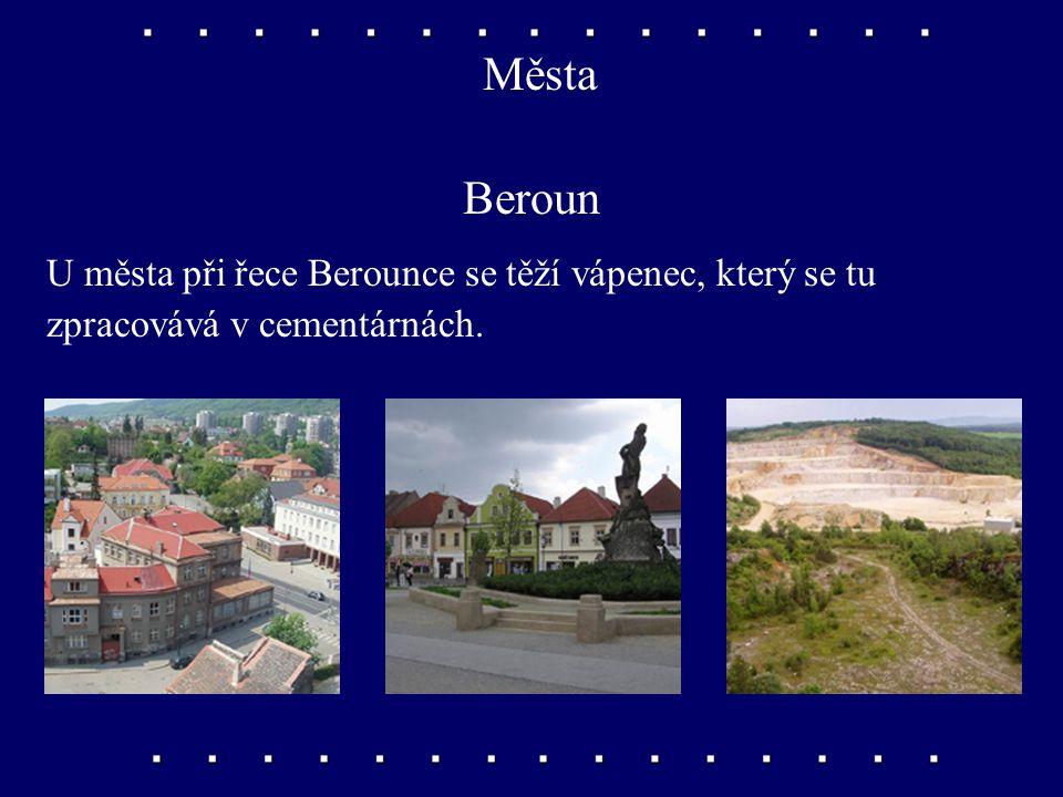 Města Kladno, Příbram Kladno je známé těžbou černého uhlí a hutním průmyslem. V okolí Příbrami se těžilo stříbro a uran.