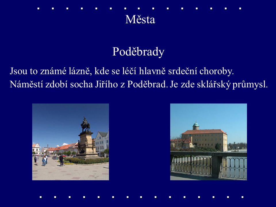 Města Poděbrady Jsou to známé lázně, kde se léčí hlavně srdeční choroby.