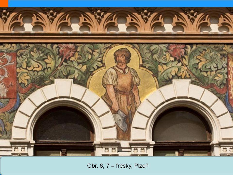 Střední škola Oselce Obr. 6, 7 – fresky, Plzeň