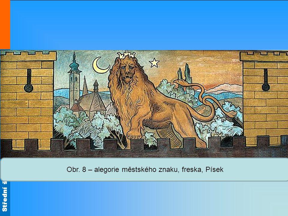 Střední škola Oselce Obr. 8 – alegorie městského znaku, freska, Písek