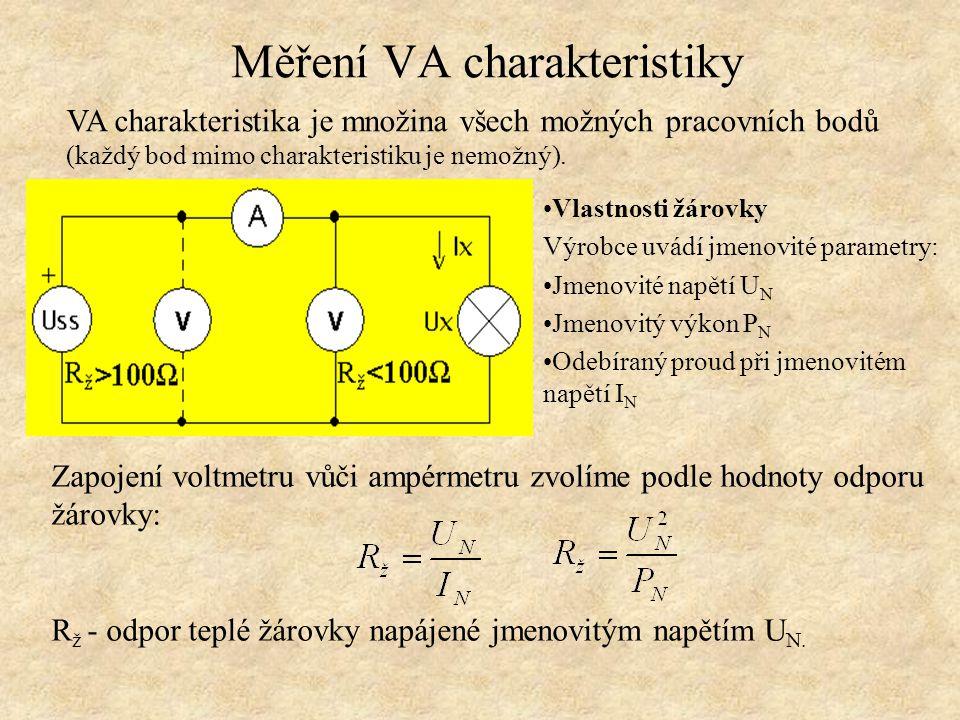 Zapojení voltmetru vůči ampérmetru zvolíme podle hodnoty odporu žárovky: R ž - odpor teplé žárovky napájené jmenovitým napětím U N.