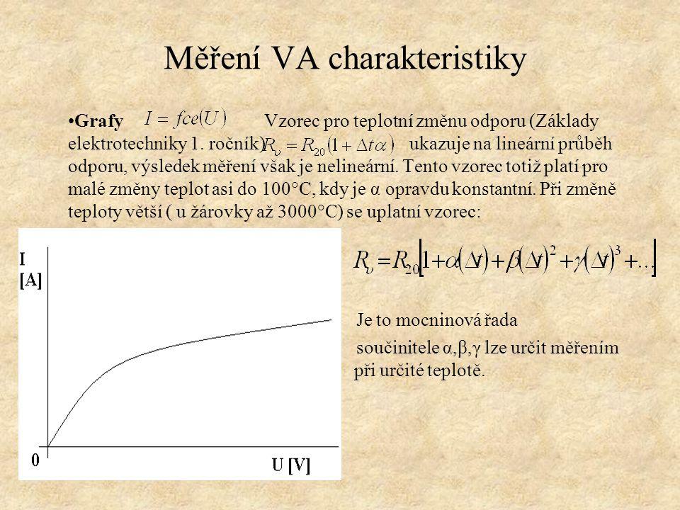 Měření VA charakteristiky Grafy Vzorec pro teplotní změnu odporu (Základy elektrotechniky 1.