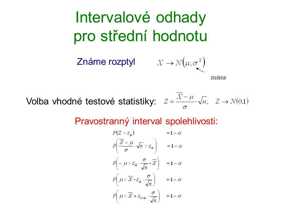 Intervalové odhady pro střední hodnotu Známe rozptyl známe Volba vhodné testové statistiky: Pravostranný interval spolehlivosti: