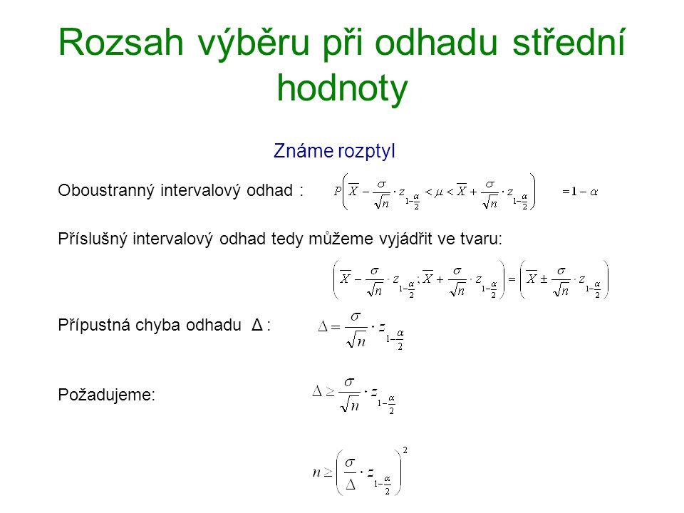 Rozsah výběru při odhadu střední hodnoty Známe rozptyl Oboustranný intervalový odhad : Příslušný intervalový odhad tedy můžeme vyjádřit ve tvaru: Příp