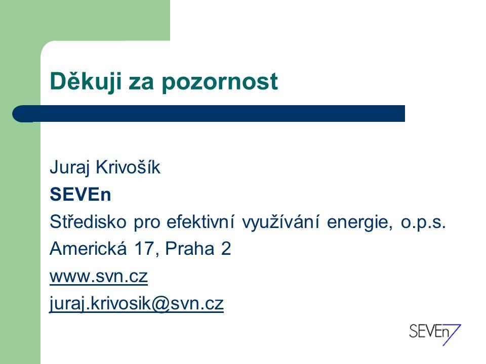 Děkuji za pozornost Juraj Krivošík SEVEn Středisko pro efektivní využívání energie, o.p.s.