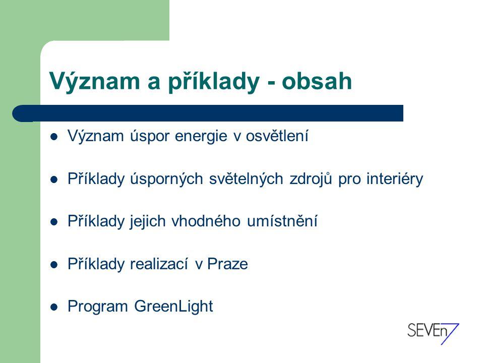 Význam a příklady - obsah Význam úspor energie v osvětlení Příklady úsporných světelných zdrojů pro interiéry Příklady jejich vhodného umístnění Příklady realizací v Praze Program GreenLight