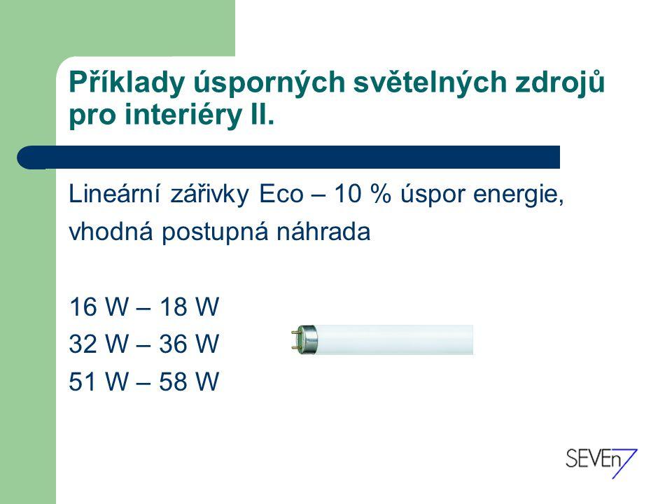 Příklady úsporných světelných zdrojů pro interiéry II.