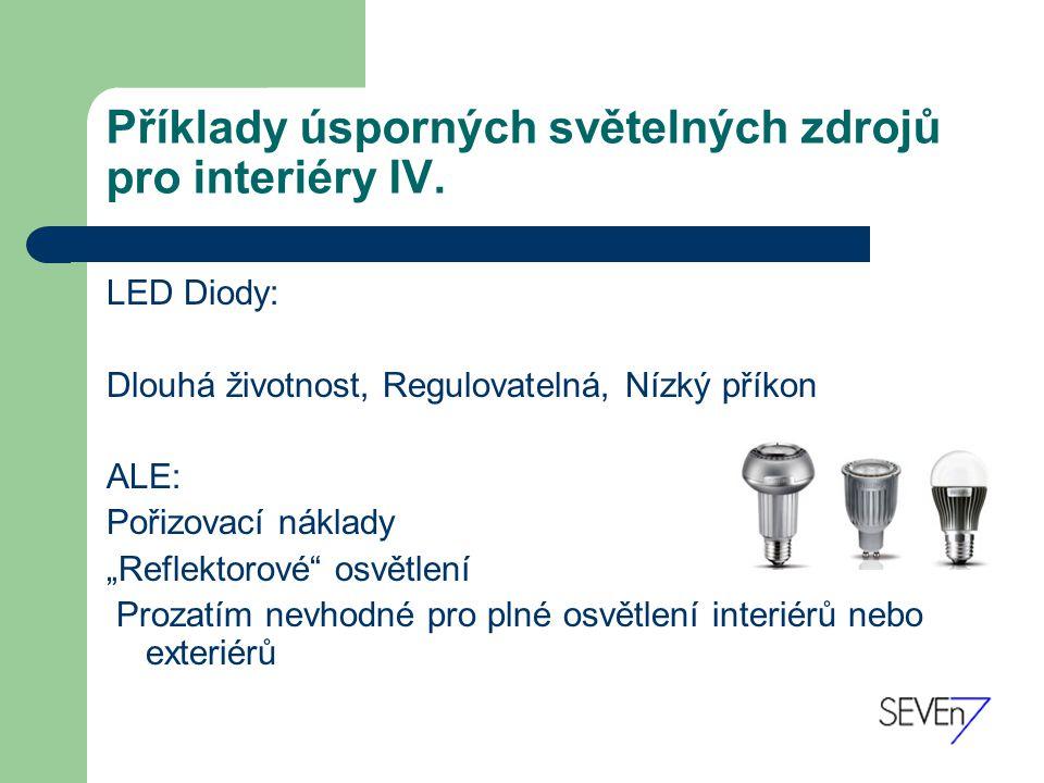 Příklady úsporných světelných zdrojů pro interiéry IV.