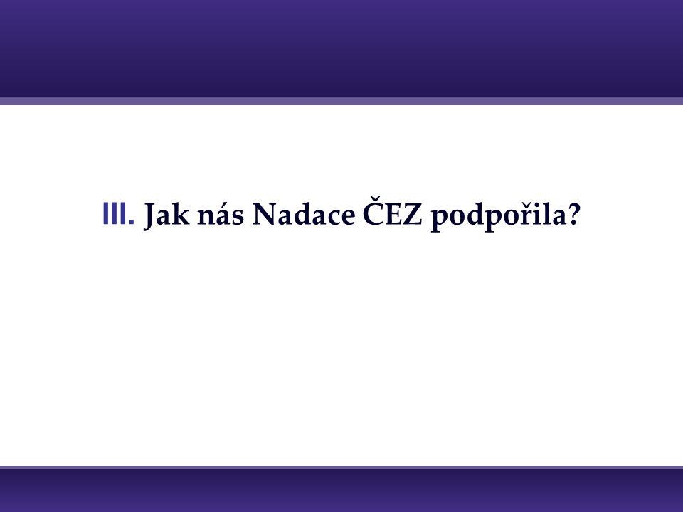 III. Jak nás Nadace ČEZ podpořila?