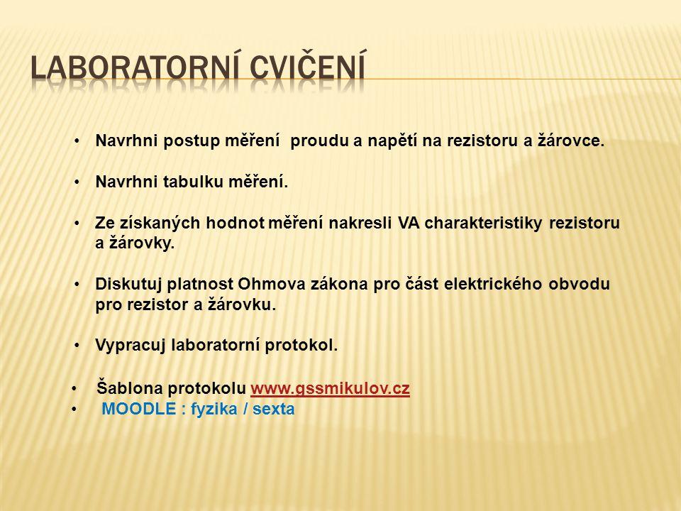 Šablona protokolu www.gssmikulov.czwww.gssmikulov.cz MOODLE : fyzika / sexta Navrhni postup měření proudu a napětí na rezistoru a žárovce.