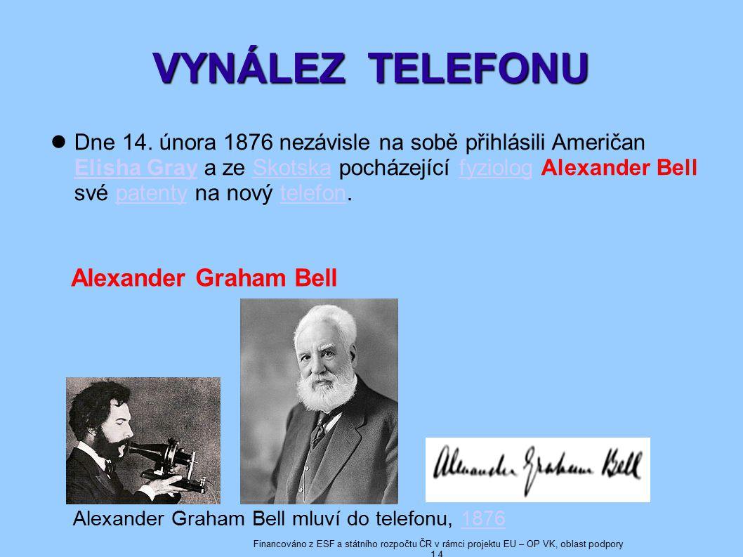 VYNÁLEZ TELEFONU Alexander Graham Bell mluví do telefonu, 18761876 Dne 14.
