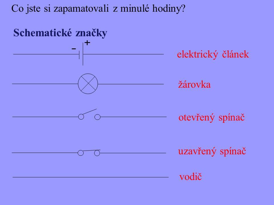 Schematické značky elektrický článek otevřený spínač uzavřený spínač Co jste si zapamatovali z minulé hodiny? žárovka vodič