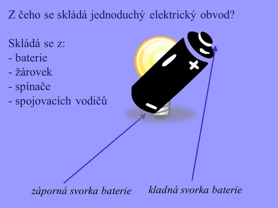 Z čeho se skládá jednoduchý elektrický obvod? Skládá se z: - baterie - žárovek - spínače - spojovacích vodičů záporná svorka baterie kladná svorka bat