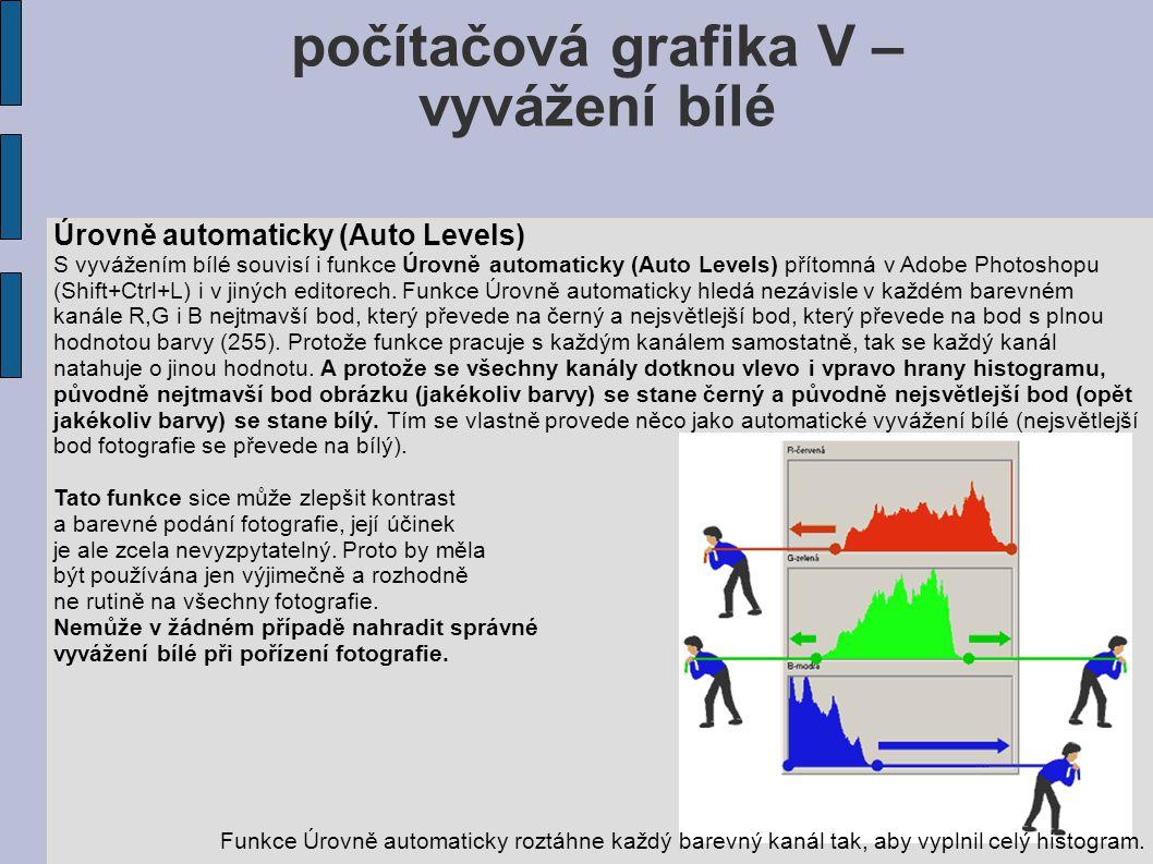 počítačová grafika V – vyvážení bílé Úrovně automaticky (Auto Levels) S vyvážením bílé souvisí i funkce Úrovně automaticky (Auto Levels) přítomná v Adobe Photoshopu (Shift+Ctrl+L) i v jiných editorech.