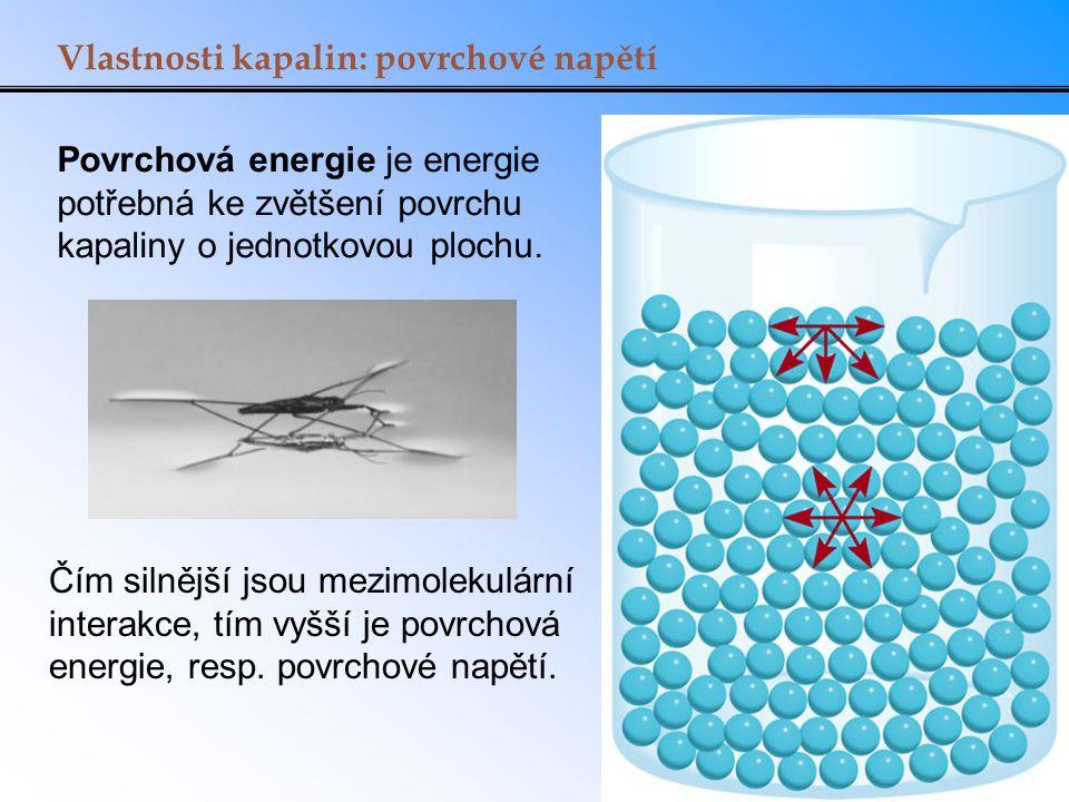 Vlastnosti kapalin: povrchové napětí Povrchová energie je energie potřebná ke zvětšení povrchu kapaliny o jednotkovou plochu. Čím silnější jsou mezimo