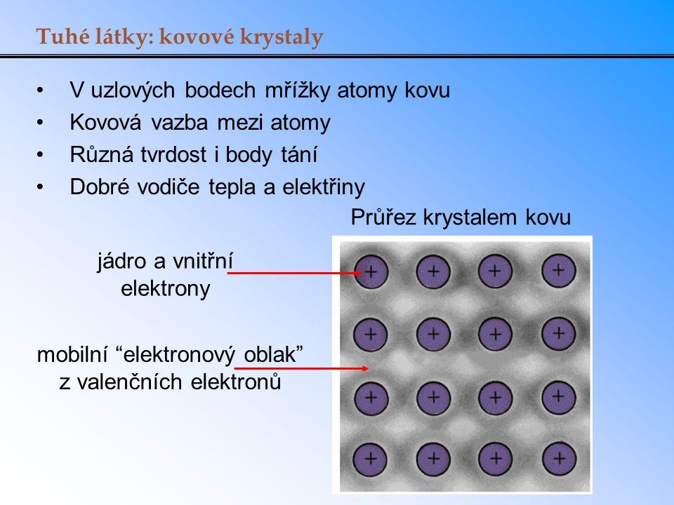 Tuhé látky: kovové krystaly V uzlových bodech mřížky atomy kovu Kovová vazba mezi atomy Různá tvrdost i body tání Dobré vodiče tepla a elektřiny Průře