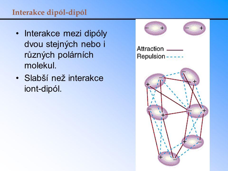 Interakce dipól-dipól Interakce mezi dipóly dvou stejných nebo i různých polárních molekul. Slabší než interakce iont-dipól.