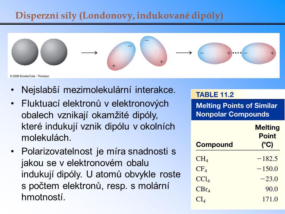 Disperzní síly (Londonovy, indukované dipóly) Nejslabší mezimolekulární interakce. Fluktuací elektronů v elektronových obalech vznikají okamžité dipól