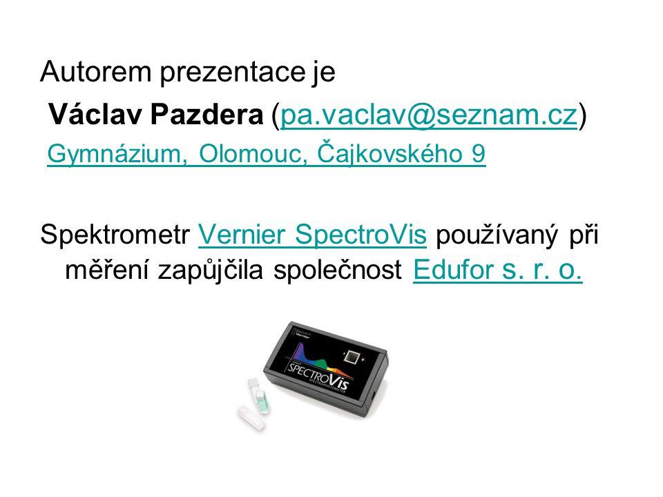 Autorem prezentace je Václav Pazdera (pa.vaclav@seznam.cz)pa.vaclav@seznam.cz Gymnázium, Olomouc, Čajkovského 9 Spektrometr Vernier SpectroVis používa