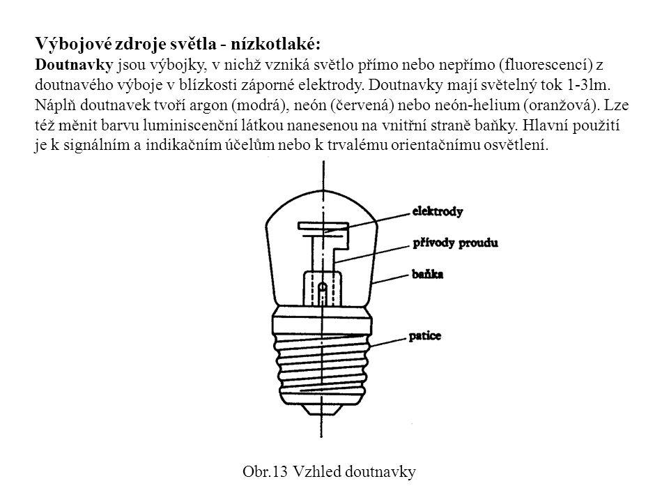 Výbojové zdroje světla - nízkotlaké: Doutnavky jsou výbojky, v nichž vzniká světlo přímo nebo nepřímo (fluorescencí) z doutnavého výboje v blízkosti z