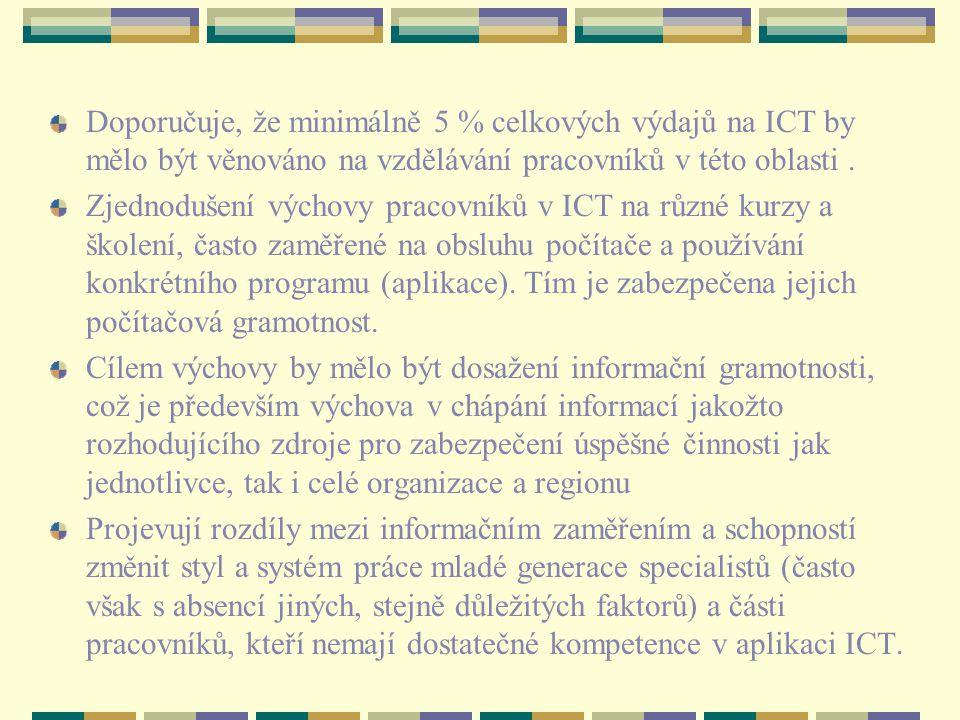 Doporučuje, že minimálně 5 % celkových výdajů na ICT by mělo být věnováno na vzdělávání pracovníků v této oblasti.