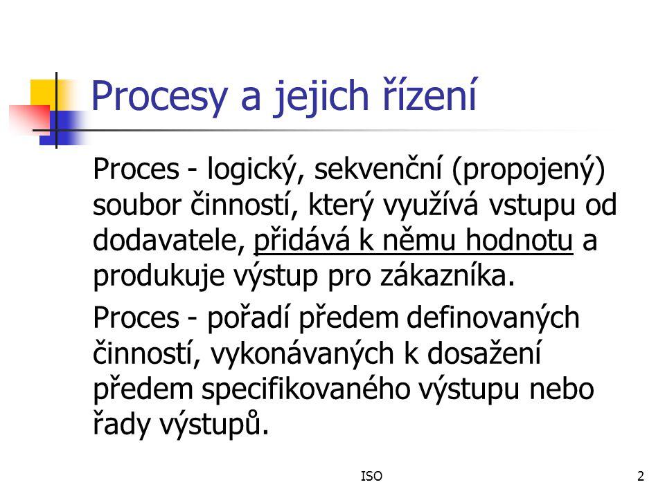 ISO2 Procesy a jejich řízení Proces - logický, sekvenční (propojený) soubor činností, který využívá vstupu od dodavatele, přidává k němu hodnotu a produkuje výstup pro zákazníka.