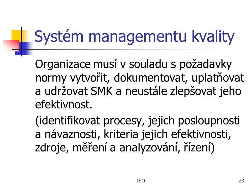 ISO23 Systém managementu kvality Organizace musí v souladu s požadavky normy vytvořit, dokumentovat, uplatňovat a udržovat SMK a neustále zlepšovat jeho efektivnost.