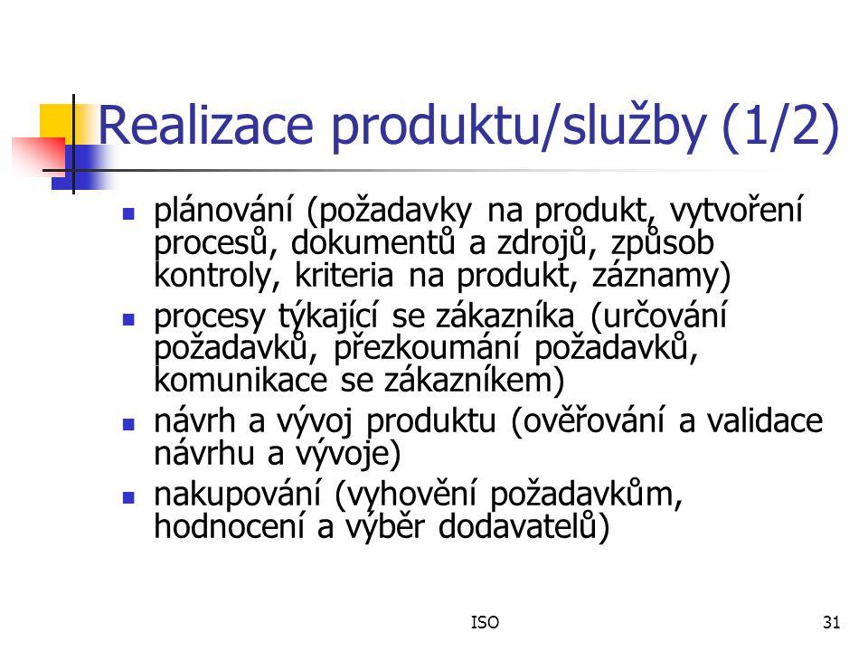 ISO31 Realizace produktu/služby (1/2) plánování (požadavky na produkt, vytvoření procesů, dokumentů a zdrojů, způsob kontroly, kriteria na produkt, záznamy) procesy týkající se zákazníka (určování požadavků, přezkoumání požadavků, komunikace se zákazníkem) návrh a vývoj produktu (ověřování a validace návrhu a vývoje) nakupování (vyhovění požadavkům, hodnocení a výběr dodavatelů)