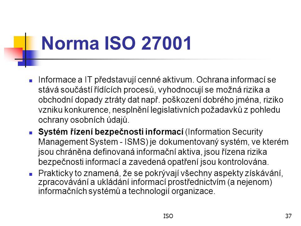 ISO37 Norma ISO 27001 Informace a IT představují cenné aktivum.