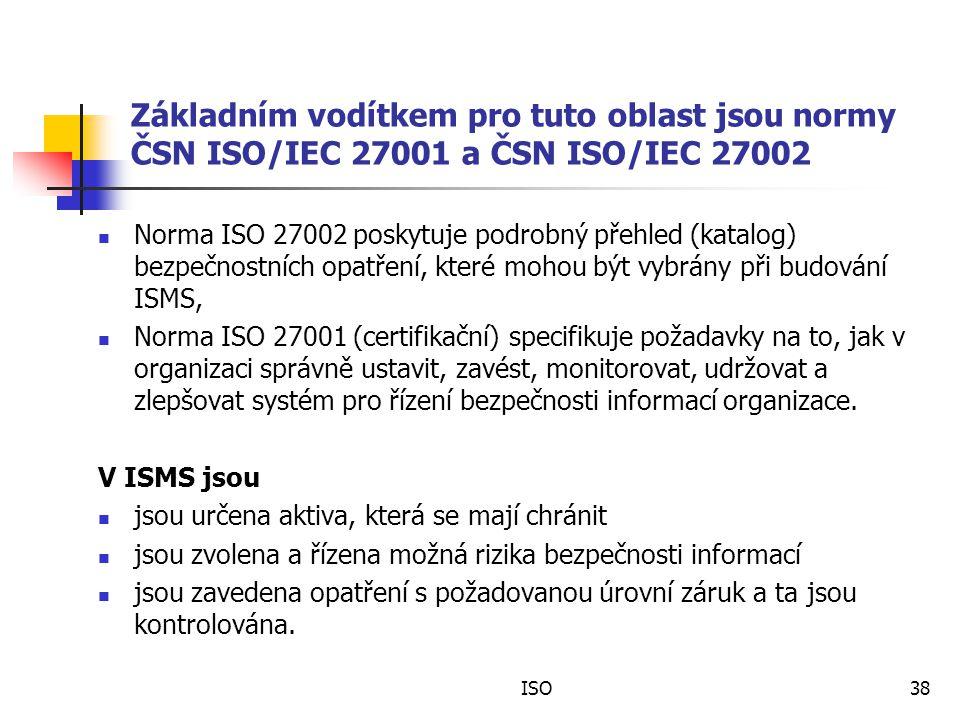 ISO38 Základním vodítkem pro tuto oblast jsou normy ČSN ISO/IEC 27001 a ČSN ISO/IEC 27002 Norma ISO 27002 poskytuje podrobný přehled (katalog) bezpečnostních opatření, které mohou být vybrány při budování ISMS, Norma ISO 27001 (certifikační) specifikuje požadavky na to, jak v organizaci správně ustavit, zavést, monitorovat, udržovat a zlepšovat systém pro řízení bezpečnosti informací organizace.