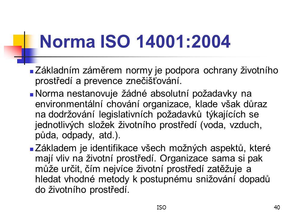 ISO40 Norma ISO 14001:2004 Základním záměrem normy je podpora ochrany životního prostředí a prevence znečišťování.