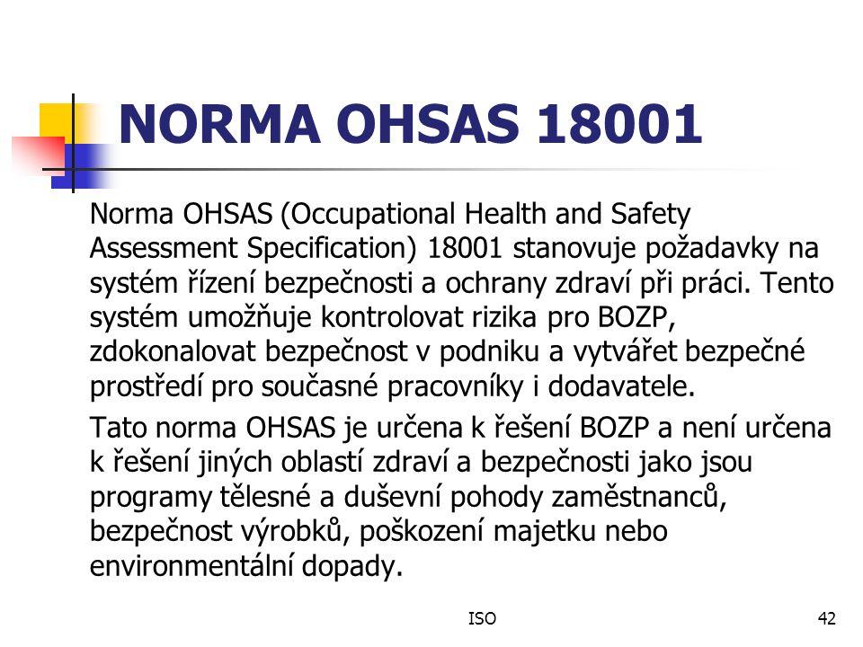 NORMA OHSAS 18001 Norma OHSAS (Occupational Health and Safety Assessment Specification) 18001 stanovuje požadavky na systém řízení bezpečnosti a ochrany zdraví při práci.