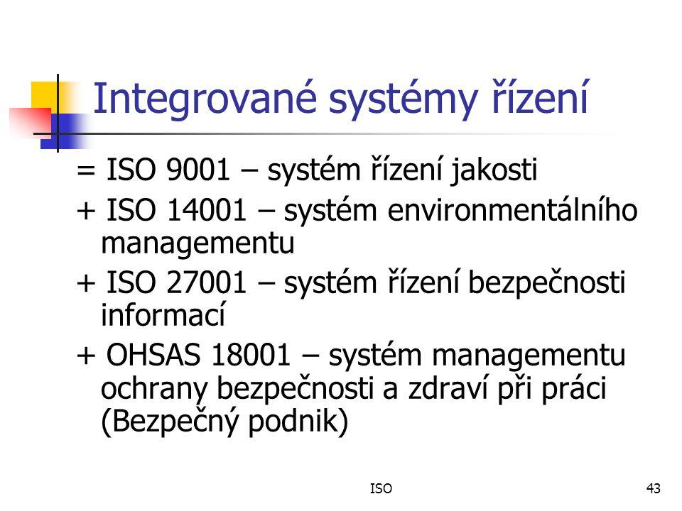 ISO43 Integrované systémy řízení = ISO 9001 – systém řízení jakosti + ISO 14001 – systém environmentálního managementu + ISO 27001 – systém řízení bezpečnosti informací + OHSAS 18001 – systém managementu ochrany bezpečnosti a zdraví při práci (Bezpečný podnik)