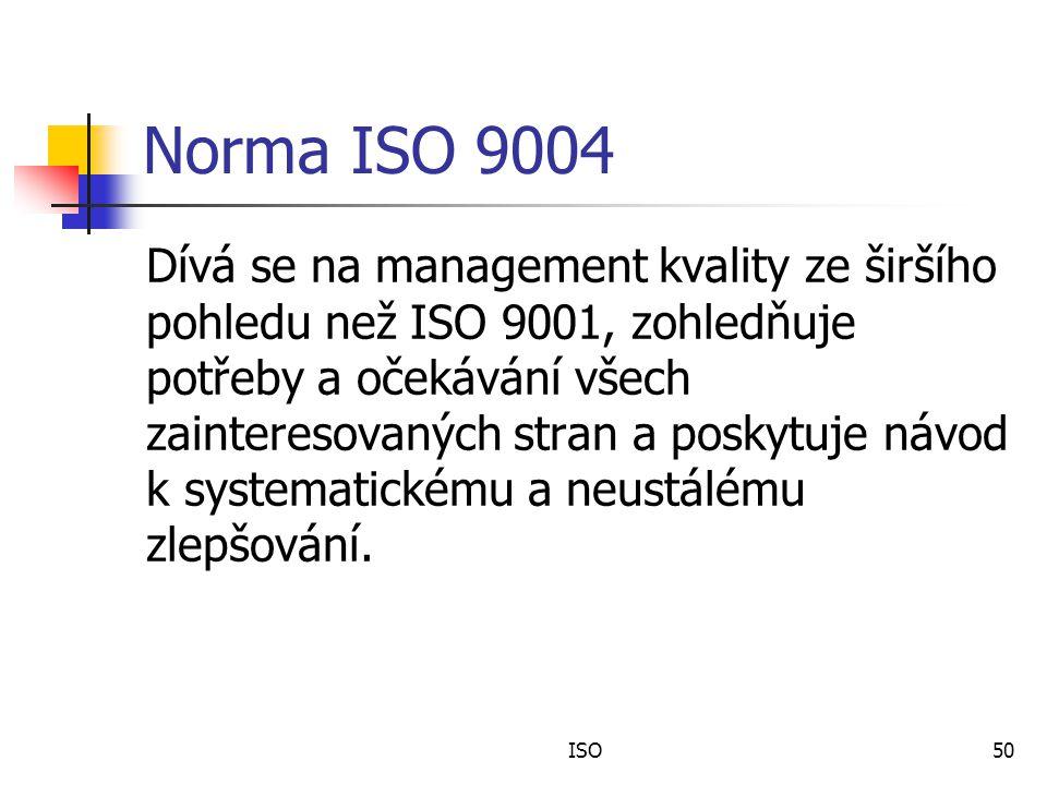 Norma ISO 9004 Dívá se na management kvality ze širšího pohledu než ISO 9001, zohledňuje potřeby a očekávání všech zainteresovaných stran a poskytuje návod k systematickému a neustálému zlepšování.