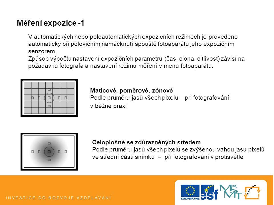 Měření expozice -1 Maticové, poměrové, zónové Podle průměru jasů všech pixelů – při fotografování v běžné praxi Celoplošné se zdůrazněných středem Podle průměru jasů všech pixelů se zvýšenou vahou jasu pixelů ve střední části snímku – při fotografování v protisvětle V automatických nebo poloautomatických expozičních režimech je provedeno automaticky při polovičním namáčknutí spouště fotoaparátu jeho expozičním senzorem.