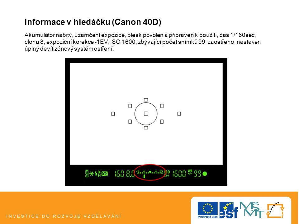 Informace v hledáčku (Canon 40D) Akumulátor nabitý, uzamčení expozice, blesk povolen a připraven k použití, čas 1/160sec, clona 8, expoziční korekce -1EV, ISO 1600, zbývající počet snímků 99, zaostřeno, nastaven úplný devítizónový systém ostření.