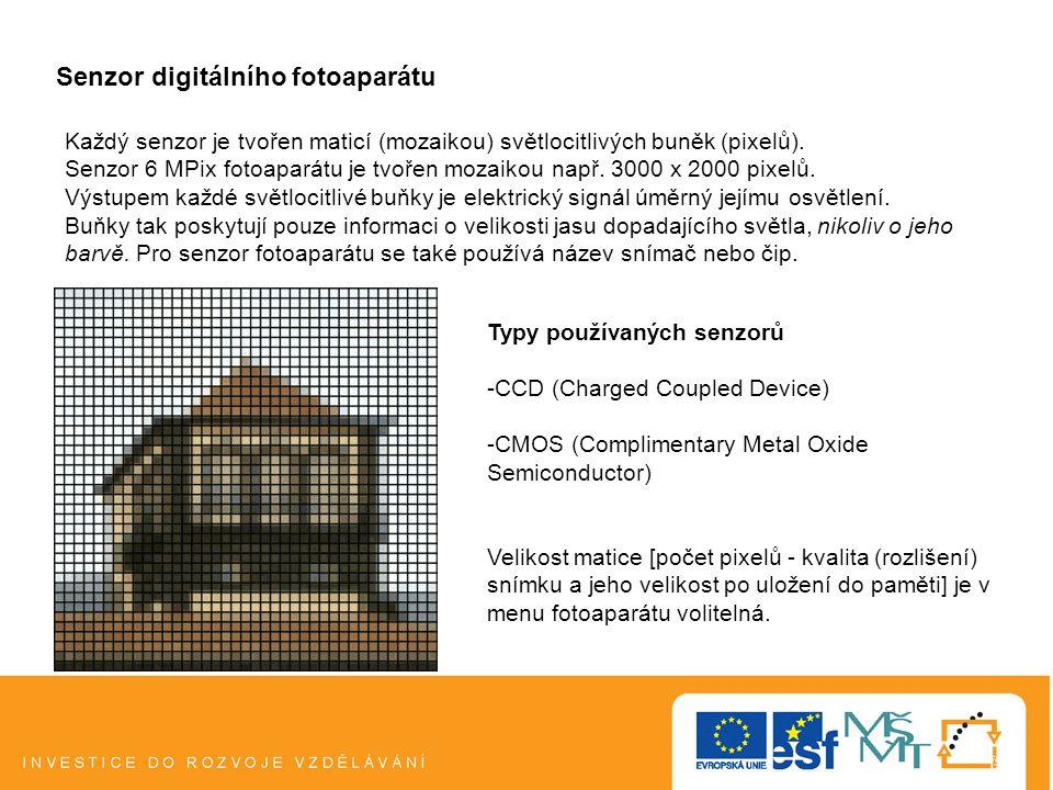 Senzor digitálního fotoaparátu Každý senzor je tvořen maticí (mozaikou) světlocitlivých buněk (pixelů).
