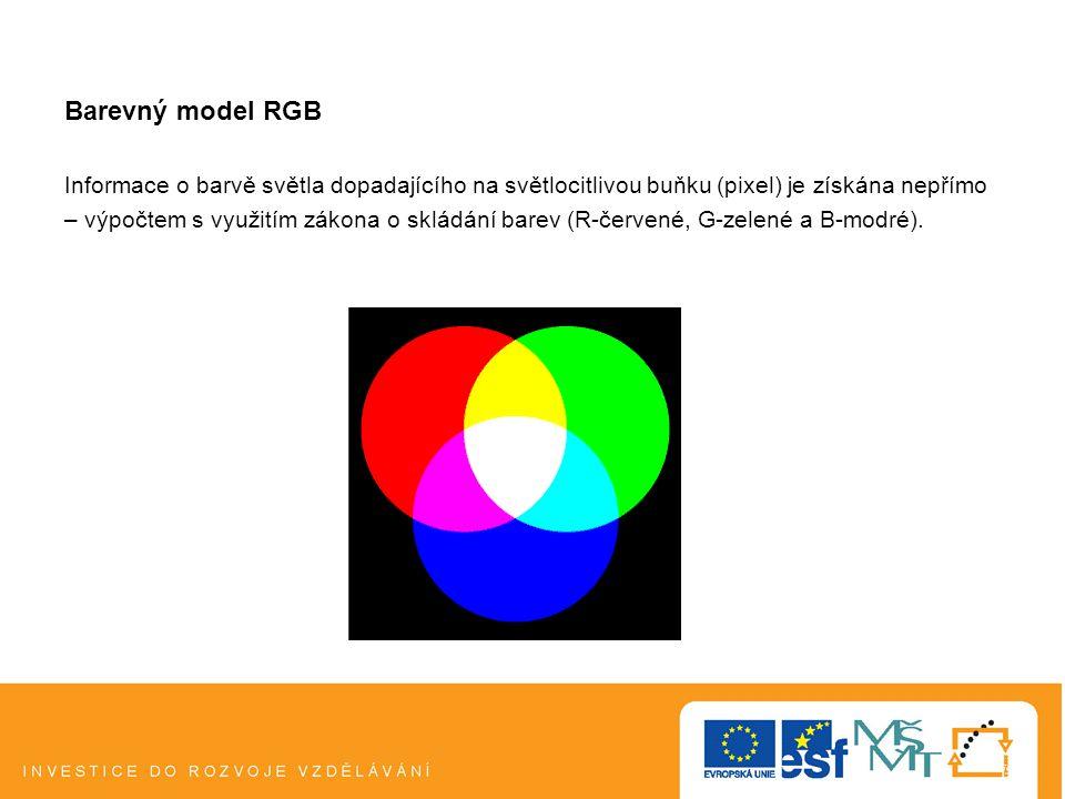 Barevný model RGB Informace o barvě světla dopadajícího na světlocitlivou buňku (pixel) je získána nepřímo – výpočtem s využitím zákona o skládání barev (R-červené, G-zelené a B-modré).
