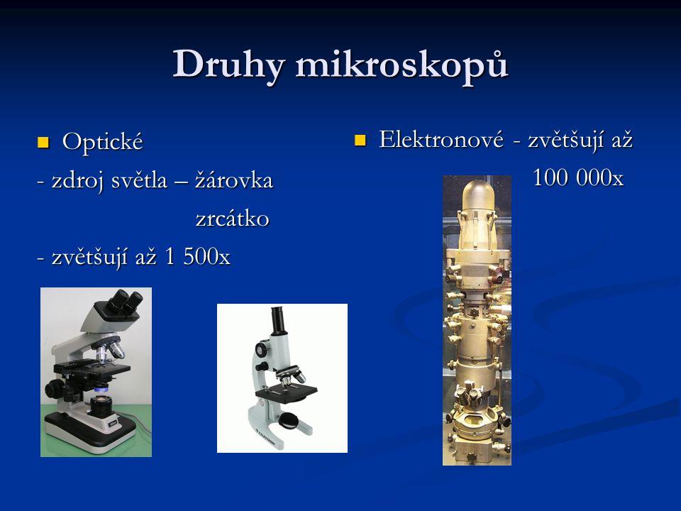 Druhy mikroskopů Elektronové - zvětšují až 100 000x Optické Optické - zdroj světla – žárovka zrcátko zrcátko - zvětšují až 1 500x
