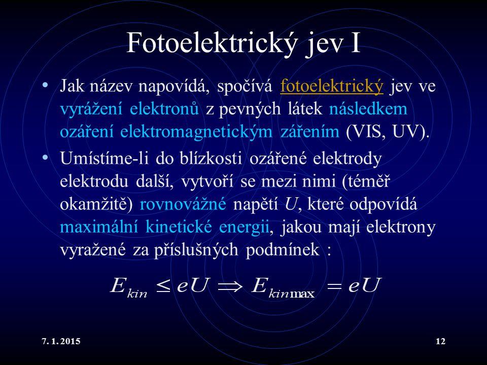 7. 1. 201512 Fotoelektrický jev I Jak název napovídá, spočívá fotoelektrický jev ve vyrážení elektronů z pevných látek následkem ozáření elektromagnet