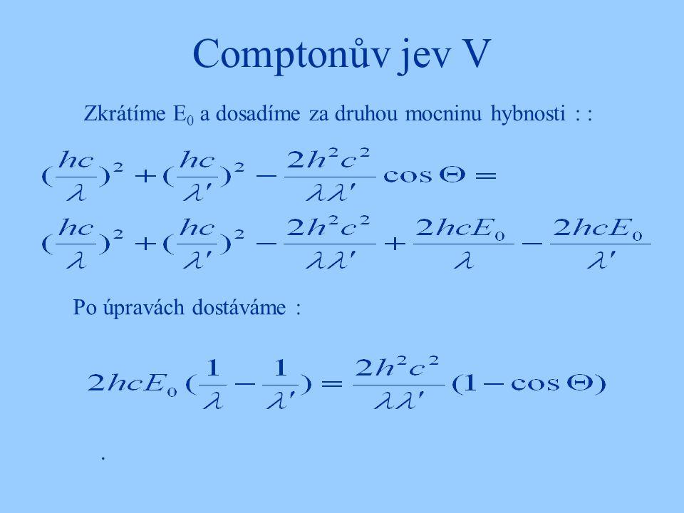 Comptonův jev V. Zkrátíme E 0 a dosadíme za druhou mocninu hybnosti : : Po úpravách dostáváme :
