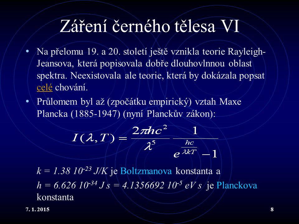 7. 1. 20158 Záření černého tělesa VI Na přelomu 19. a 20. století ještě vznikla teorie Rayleigh- Jeansova, která popisovala dobře dlouhovlnnou oblast